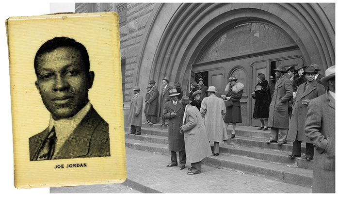 Joe Jordan on a music club match book and Pilgrim Baptist Church, 1941