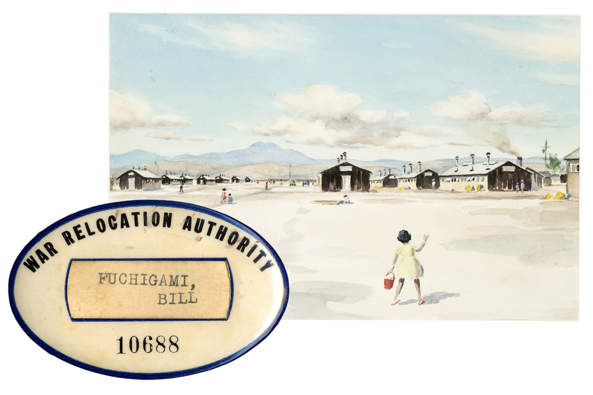 Identification tag for Bill Fuchigami and the painting Topaz Camp by Toshio Asaeda