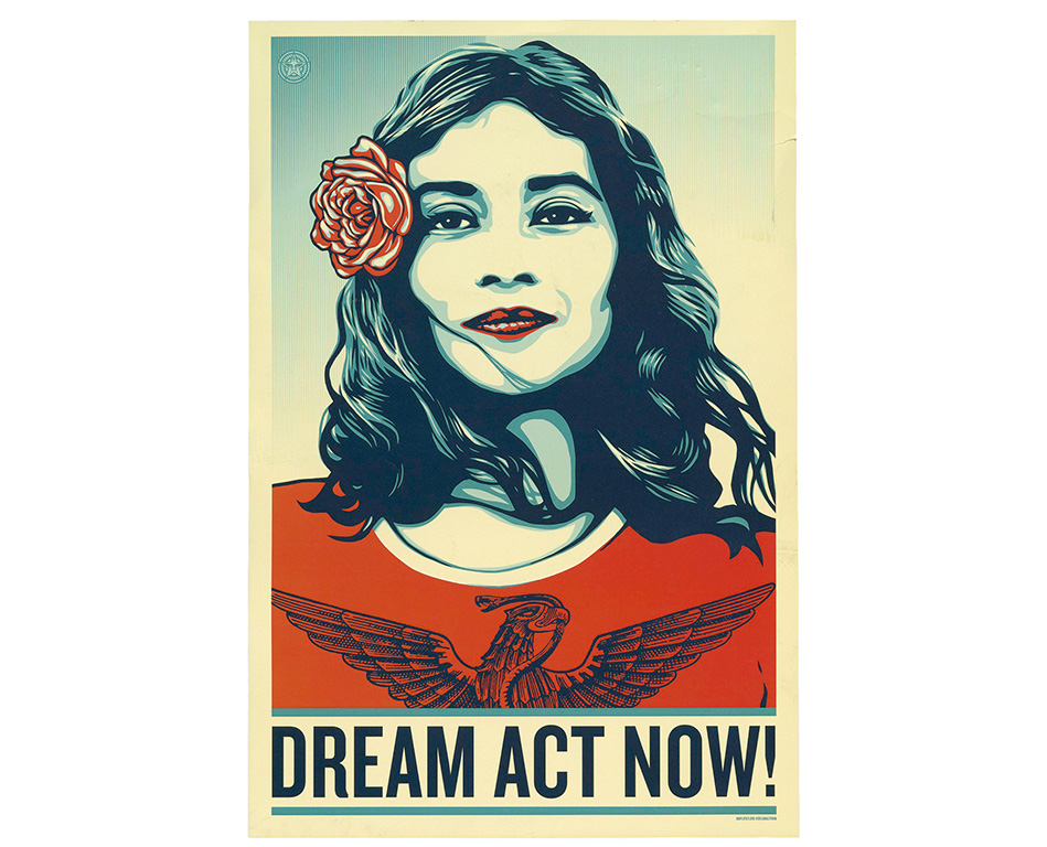 "Poster with illustration of woman smiling and text, ""Dream Act Now!"""