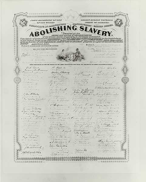 13th Amendment print. Engraving of the congressional resolution for the