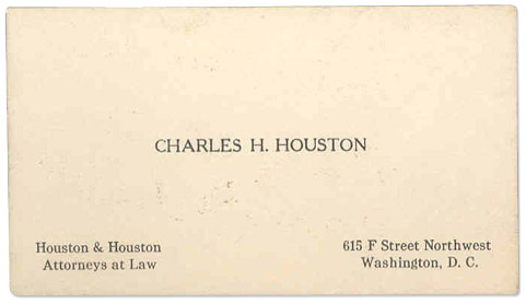 Charles hamilton houston separate is not equal business card of charles houston reheart Gallery