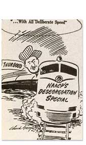 Cartoon, Marshall in Train, NAACP's Desegregaton Special