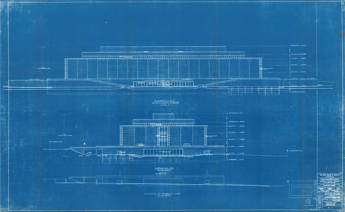 Designing a modern museum making a modern museum albert h small blueprint of museum of history and technology mckim mead and white architects elevations of 12th street and constitution avenue sides malvernweather Gallery