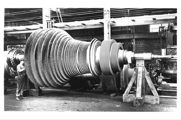 electric generator power plant. A 1925 Turbine Rotor Electric Generator Power Plant
