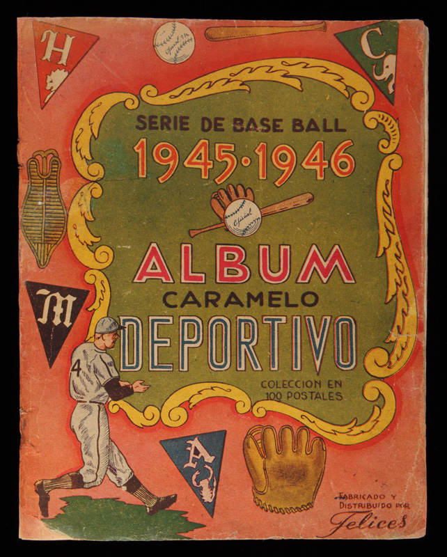 Cover of the Caramelo Deportivo baseball card album decorated with illustrations of player and related baseball ephemera