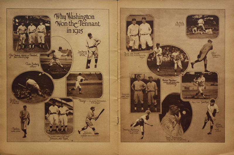 "Two page spread showing photos of players and the text, ""Why Washington Won the Pennant in 1925"""