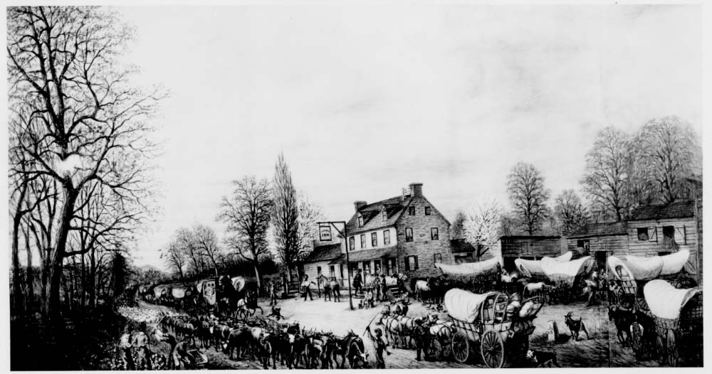 The Fairview Inn near Baltimore, a stopping place on the National Road, 1827.