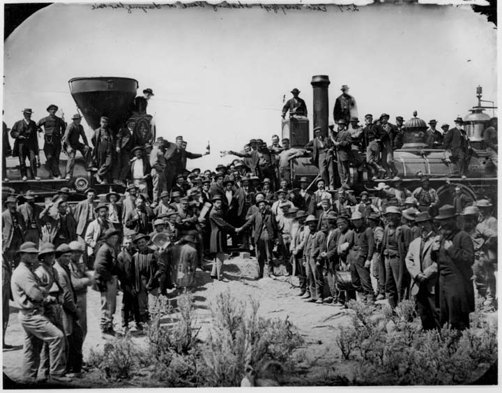 Two trains meeting at Promontory Summit, Utah, 1869