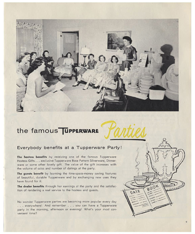 Advertisement for Tupperware with photograph of a group of woman at a home-sales party