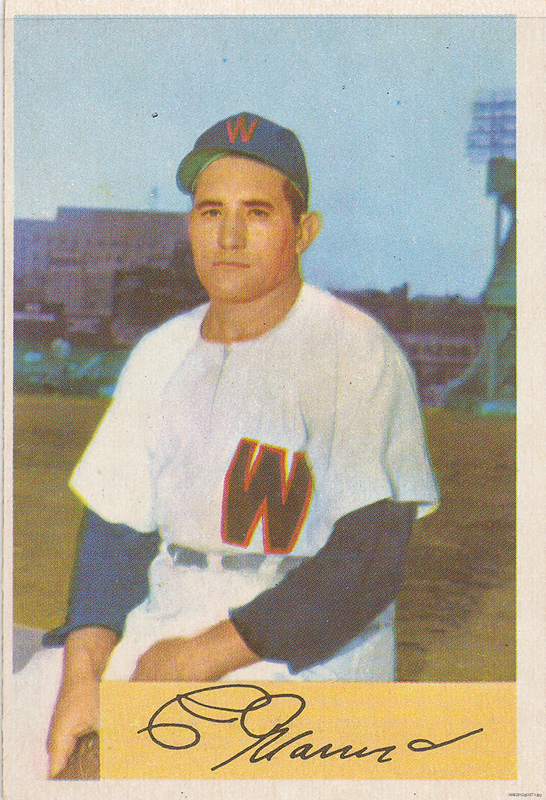 "Photograph of Conrado ""Connie"" Marrero, seated, on a baseball card"