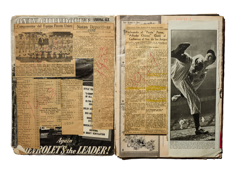 Scrapbook with newspaper clippings and full-page photograph of player mid-pitch