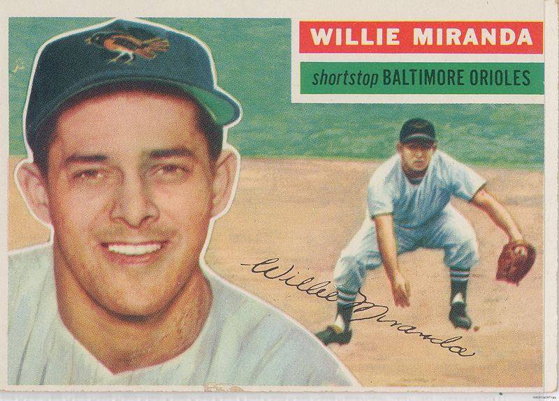 Basbeball card with headshot of Willy Miranda and an illustration of a shortstop fielding a ball