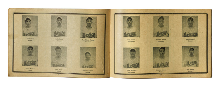 Double-page spread showing portraits of baseball players