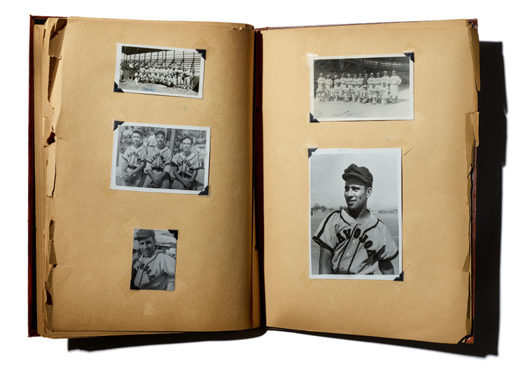 Scrapbook with images of baseball players