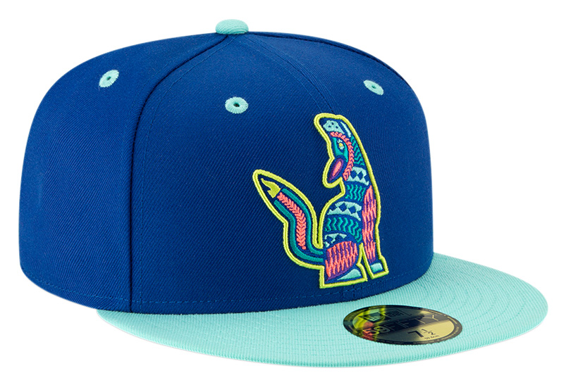 Soñadores de Hillsboro cap, decorated with the team's stylized wolf mascot