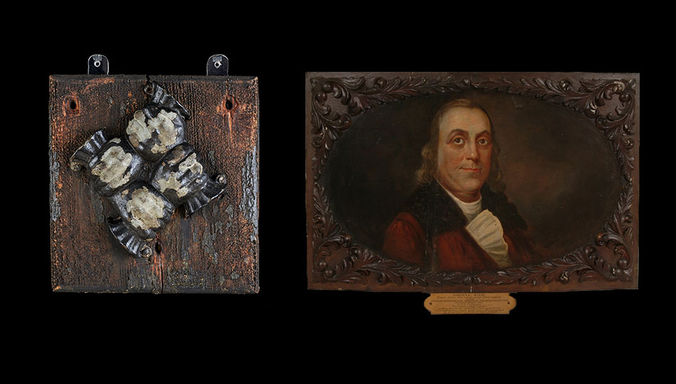 Philadelphia Contributorship fire mark, Philadelphia, 1753 and Portrait of Benjamin Franklin painted on the side of a hand-pumped fire engine, Philadelphia, around 1830