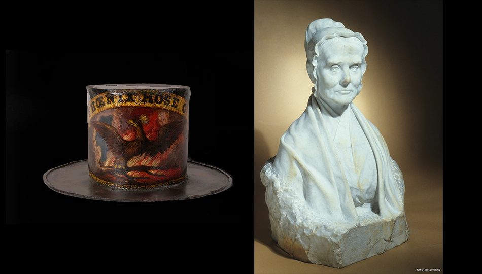 Bust of abolitionist and reformer Lucretia Mott & Fire hat made by David Bustill Bowser