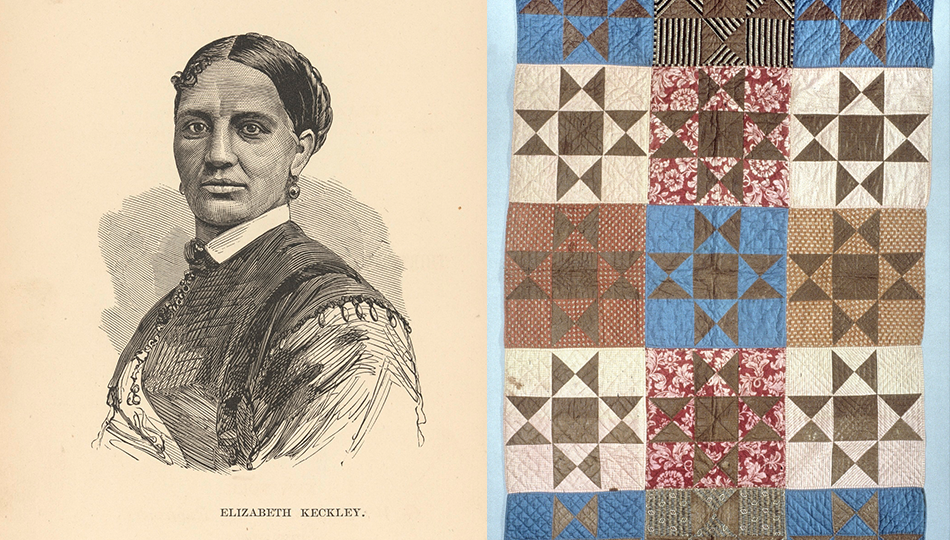 This quilt was made in 1863 by Susannah Pullen of Augusta, Maine, and her Sunday school class & portrait of Elizabeth Keckley