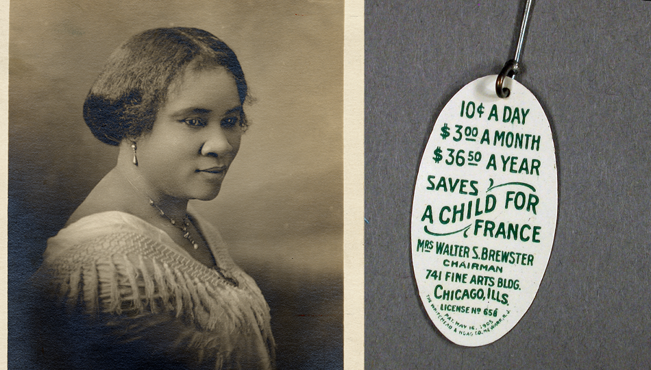 Madam C. J. Walker & Pin from the charitable organization The Fatherless Children of France