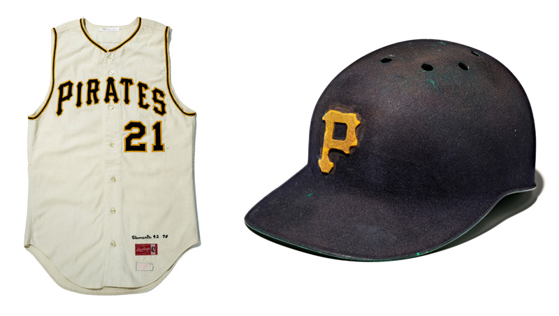 """Two images. On the left, a Pittsburgh Pirates baseball jersey with the player number, 21. On the right, a weather Pirates helmet decorated with the team's """"P"""" symbol."""