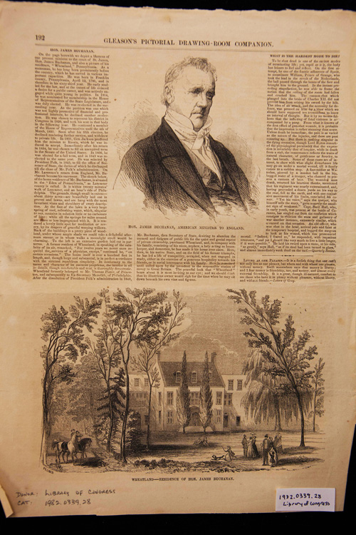 Page of newspaper showing an illustration of James Buchanan and an illustration of his wooded Pennsylvania home