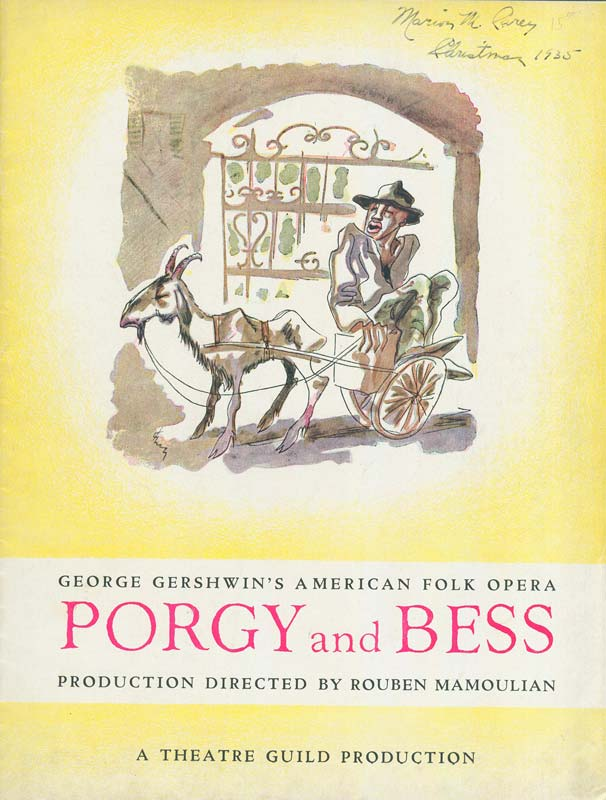 Playbill titled 'Porgy and Bess'