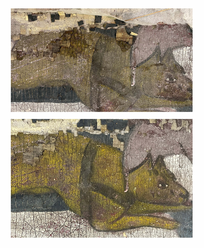 Two images showing the before and after affects of conservation on one part of the panel's artwork, showing a yello cartoon dog posed mid-leap