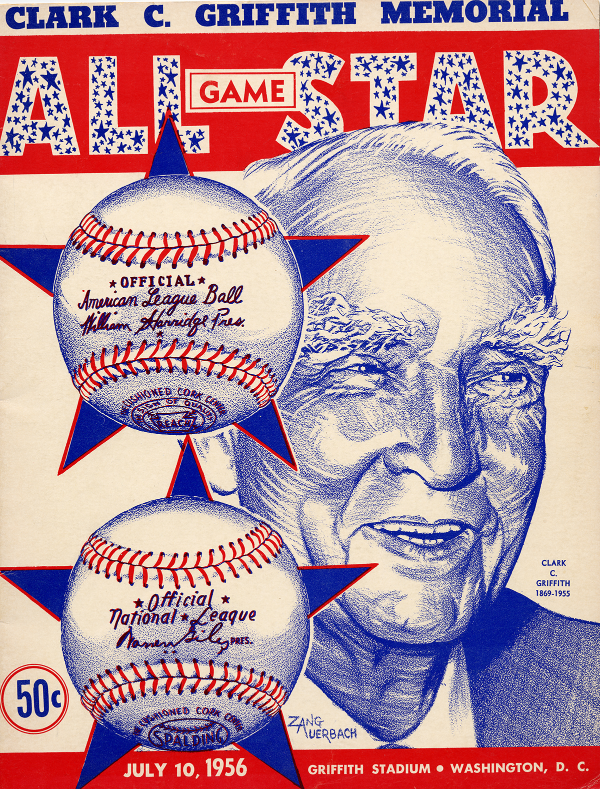 "Baseball game program cover for July 10, 1956. It features an illustration in blue of an older man with full eyebrows. He smiles, looking to the right. Two baseballs in stars are drawn over/near his face. It's red and blue. ""50 cents."""