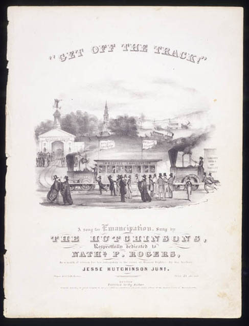 "Black and white sheet music for ""Get Off the Track"""