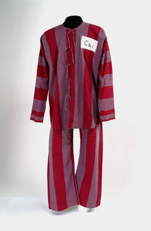 Red-and-white striped pajamas