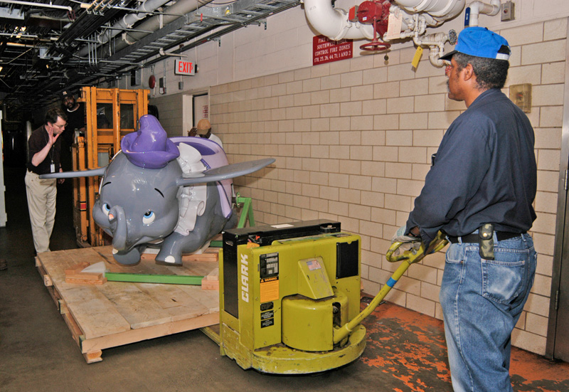 Dumbo car behind the scenes at the museum