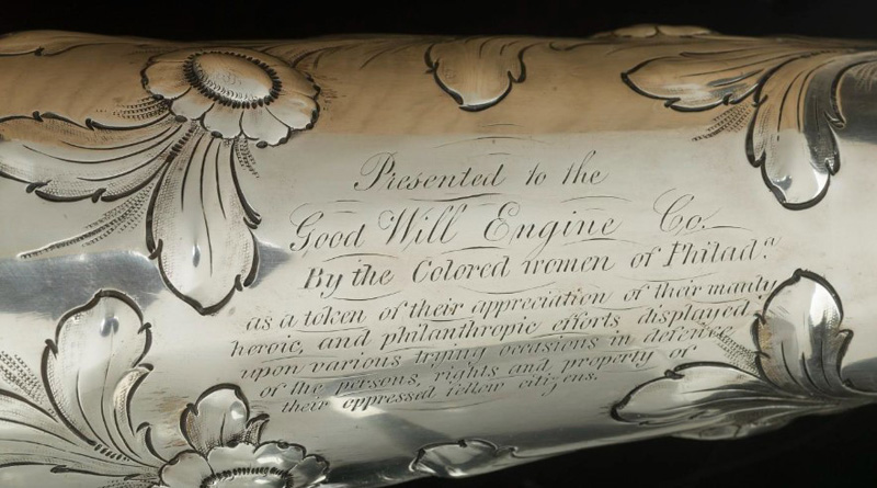 """Engraving on an ornamental silver trumpet, which reads  """"Presented to the Good Will Engine Co. By the Colored women of Phila.a as a token of their appreciation of their manly, heroic, and philanthropic efforts displayed upon various trying occasions in de"""