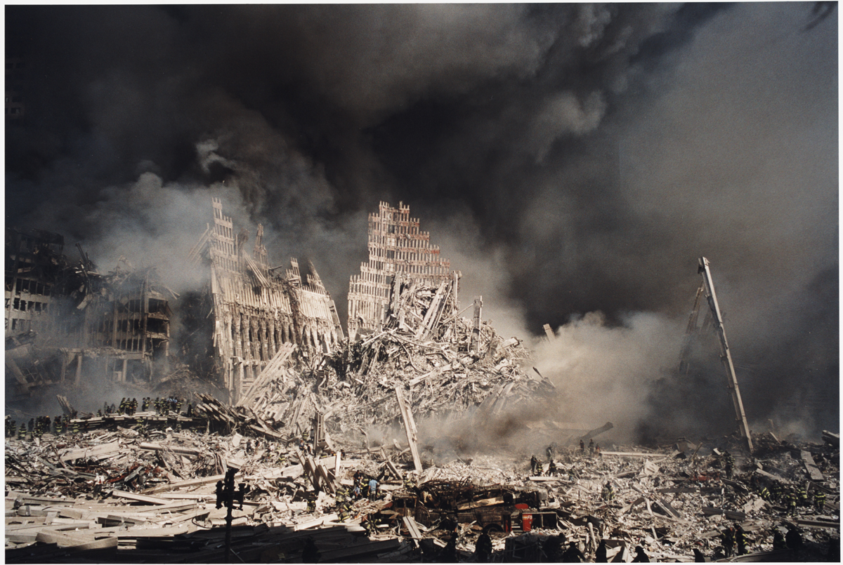 A photograph of Ground Zero at the World Trade Center.