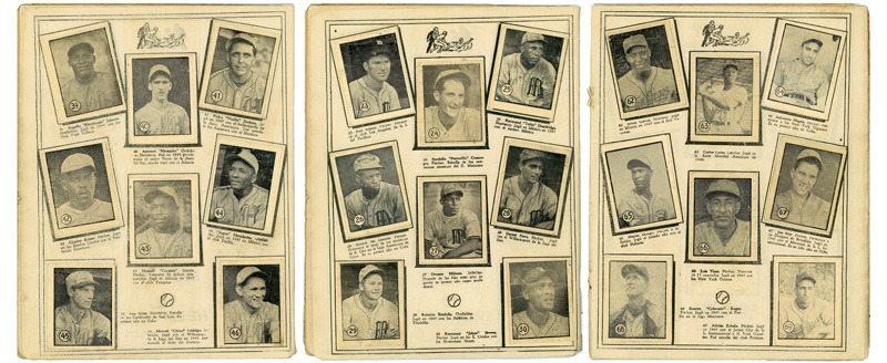 Three pages from the Caramelo Deportivo album. Each page features eight cards complete with portraits and descriptions of various players.