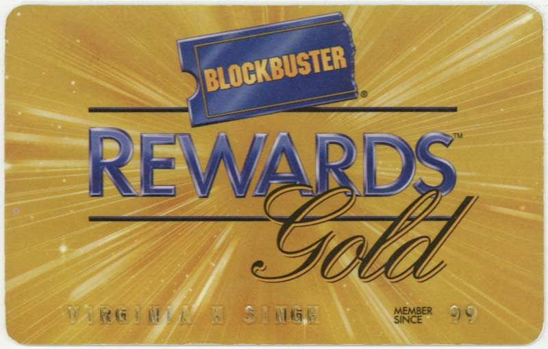 Blockbuster rewards card