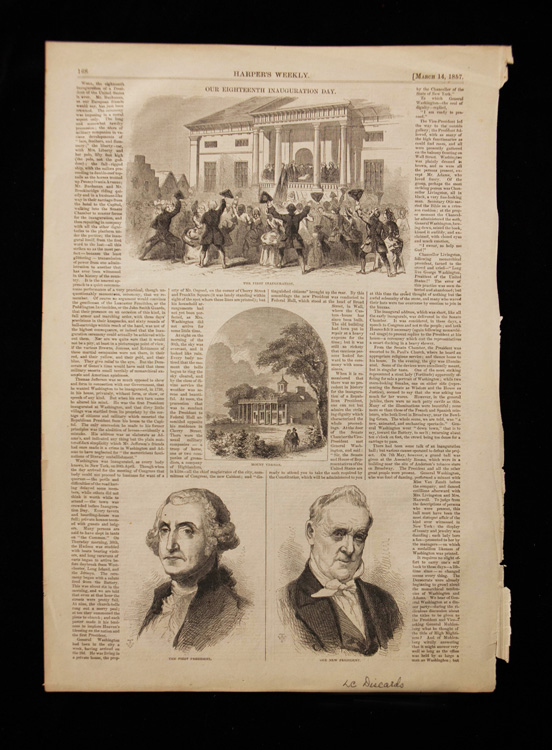 Page of newspaper with various illustrations: paired drawing of James Buchanan and George Washington, Washington inauguration, and Mount Vernon