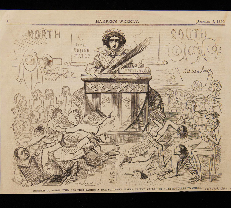 Illustration showing the figure of COlumbia presiding over a raucous meeting