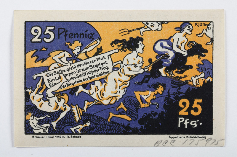 25 note showing witches riding brooms