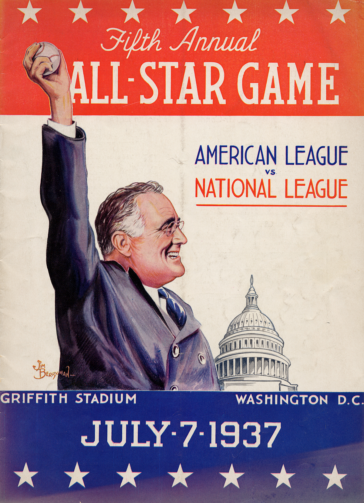 Baseball program featuring illustration in color of President Franklin Roosevelt with arm in the air about to pitch a baseball.