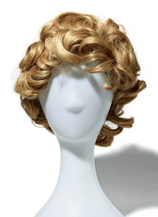 A blonde wig of large curls.