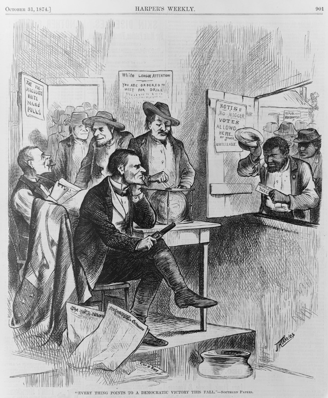 Illustration showing African American men standing outside the closed door of a polling place
