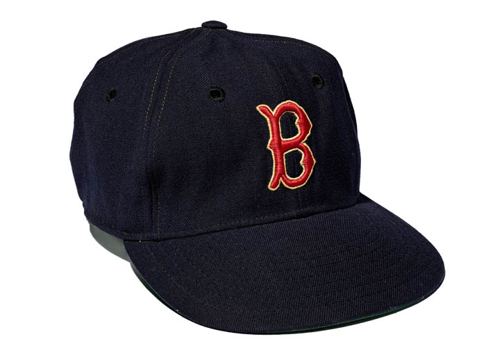 "A blue baseball cap with signature Red Sox Boston ""B"" on it."