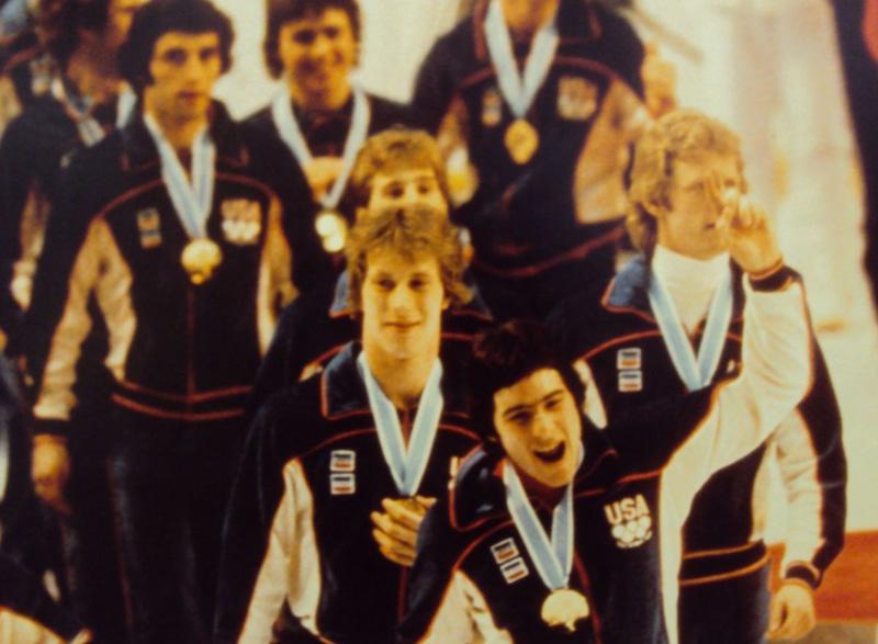 Hockey players celebrating