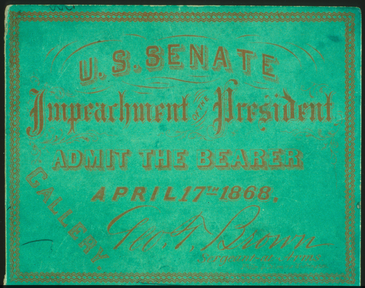 A green ticket that says U.S. Senate Impeachment of President.