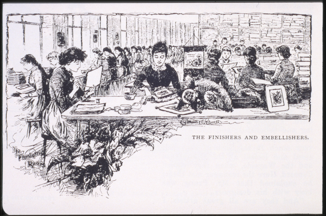 An illustration showing women working at a table.