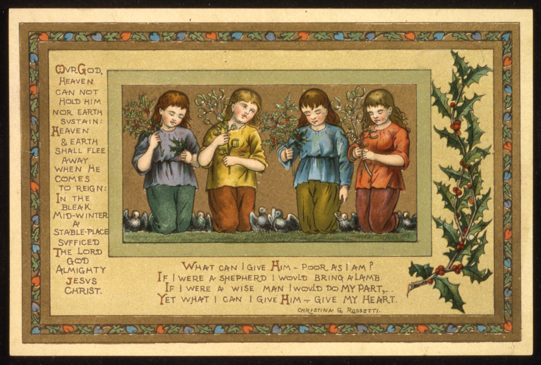 Four children hold sprigs of greenery on the cover of this card.