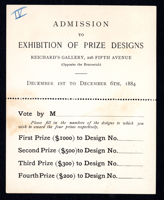 A ballot with places to select the top four prizes for art.
