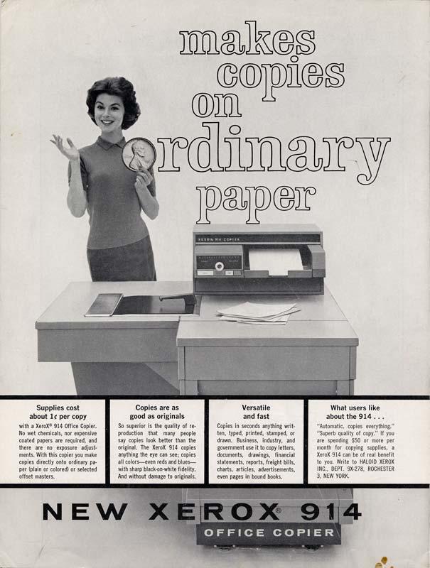 Advertisement for Xerox copier