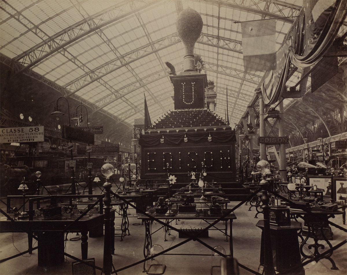 An impressive display of light bulbs and other technology.