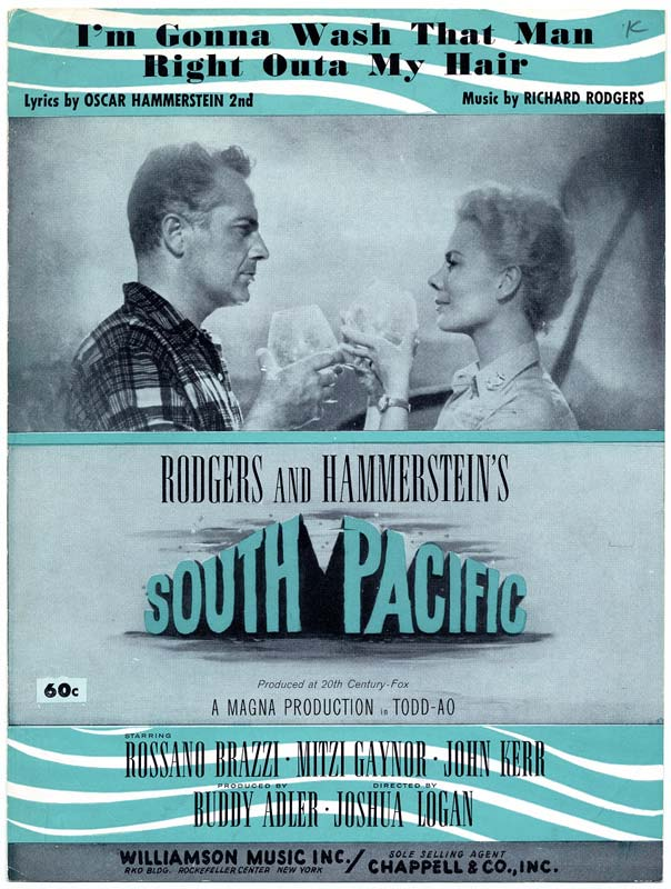 Sheet music for the song 'I'm Gonna Wash That Man Right Outa My Hair' from 'South Pacific'